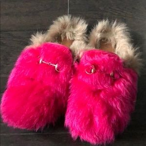 Gucci Shoes - Authentic Gucci Pink Princetown Merino Wool Mules